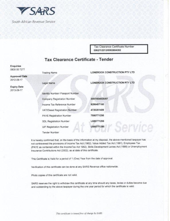 company clearance certificate